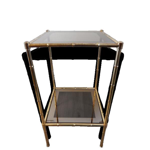 Table d 39 appoint bagu s en laiton forme bambou laiton dor bon tat design 152730 - Table d appoint dore ...