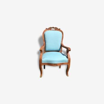 Fauteuil provençal bois et tissu bleu