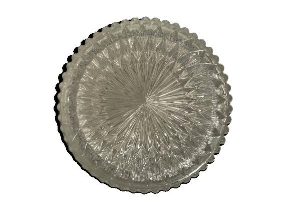 Applique plafonnier rond verre moulé transparent + socle métal blanc vintage