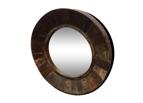 Miroir rond bois for Miroir diametre 50