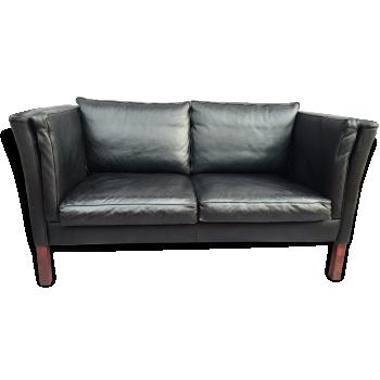 Canapé scandinave en cuir noir, années 70