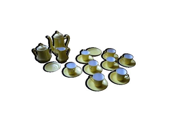 Service à café jaune en porcelaine de Limoges