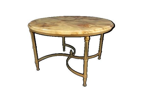 Table basse ronde avec plateau en marbre