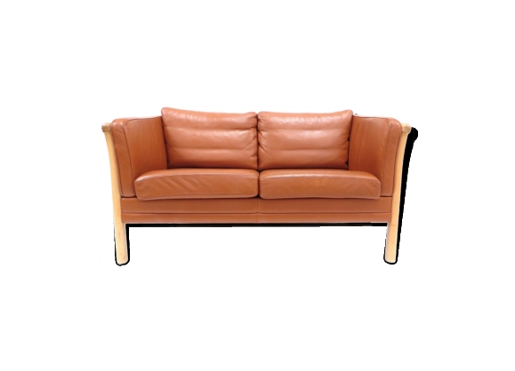 Canapé 2 places en cuir cognac