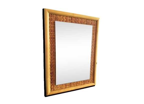 Miroir rectangulaire rotin et éclisse tressée 56 x 41 cm