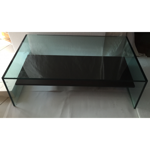 table basse en verre verre et cristal transparent. Black Bedroom Furniture Sets. Home Design Ideas