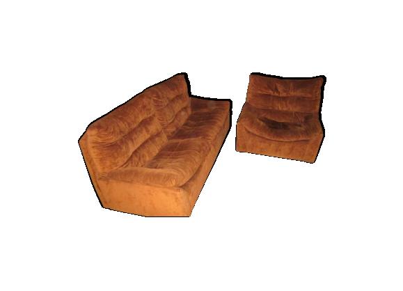 canap et fauteuil ligne roset ann es 70 vintage tissu marron bon tat vintage. Black Bedroom Furniture Sets. Home Design Ideas