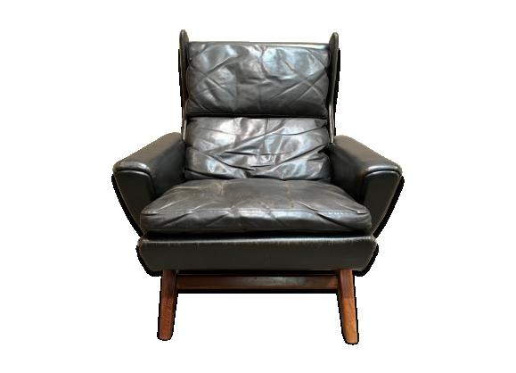 Fauteuil palissandre et cuir noir design scandinave
