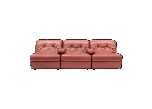 Canapé modulable en cuir vintage space age avec 3 composants