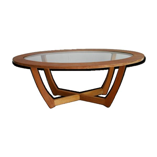 table basse ovale en bois et verre 1960 bois mat riau bois couleur dans son jus. Black Bedroom Furniture Sets. Home Design Ideas