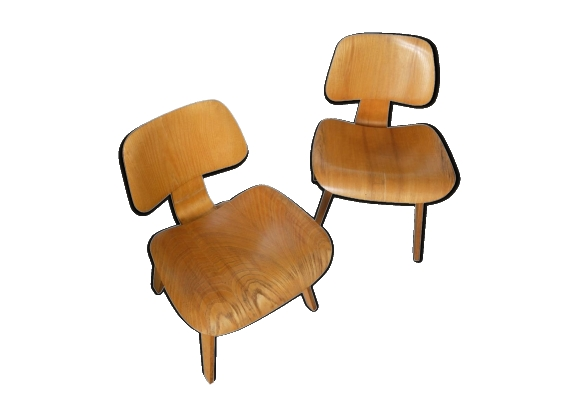 Paire de fauteuils Charles & Ray Eames DCW Herman Miller dining chairs plywood