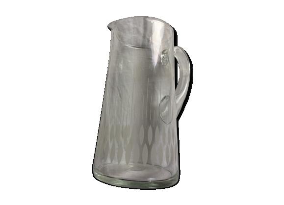 Pichet en verre soufflé des années 1970