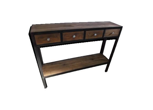 console bois acier ancien fer marron bon tat industriel. Black Bedroom Furniture Sets. Home Design Ideas