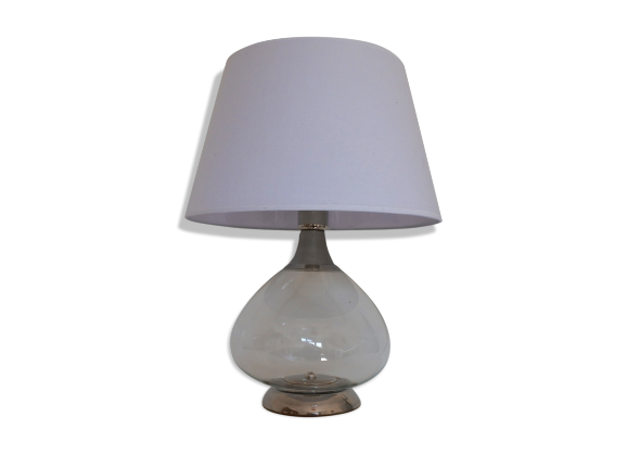 lampe de table italienne en m tal chrom et verre souffl. Black Bedroom Furniture Sets. Home Design Ideas