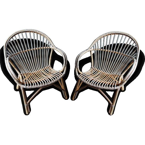 lot de deux fauteuils coquille en rotin ann e 50 rotin et osier dans son jus vintage 161186. Black Bedroom Furniture Sets. Home Design Ideas