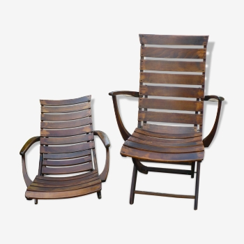 Paire de fauteuils relax vintage