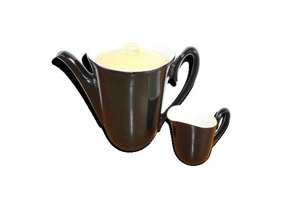 Cafetière et pot à lait en céramique noire et jaune des années 50