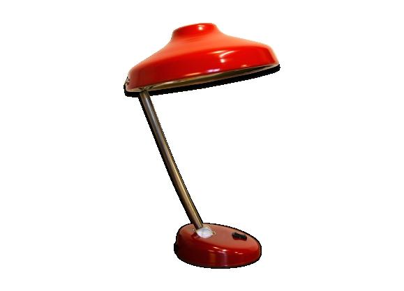 Lampe de bureau soucoupe/UFO articulée années 50/60 rouge carmin