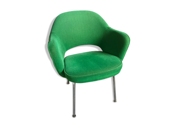 fauteuil conf rence saarinen knoll tissu vert bon tat design. Black Bedroom Furniture Sets. Home Design Ideas