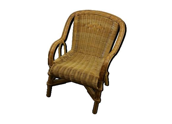 fauteuil rotin et osier rotin et osier bois couleur bon tat vintage. Black Bedroom Furniture Sets. Home Design Ideas