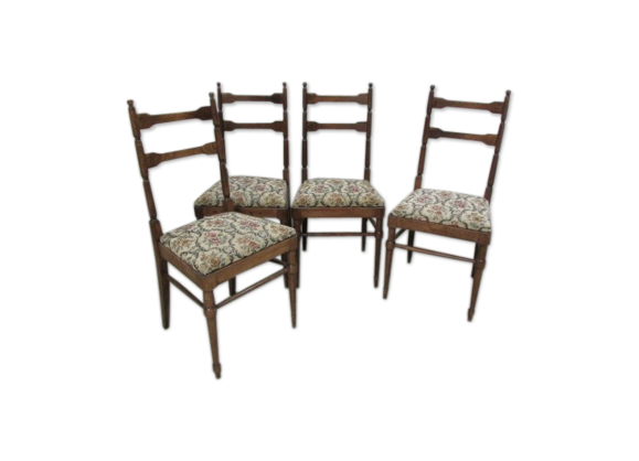 lot de 4 chaises bois mat riau multicolore dans son jus classique. Black Bedroom Furniture Sets. Home Design Ideas