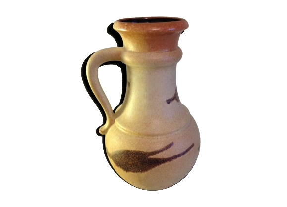 Vase boule scheurich vintage en céramique beige