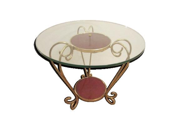 Table basse en bois et verre en laiton
