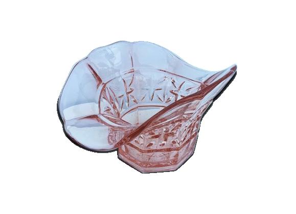 Saladier en verre rose - forme originale