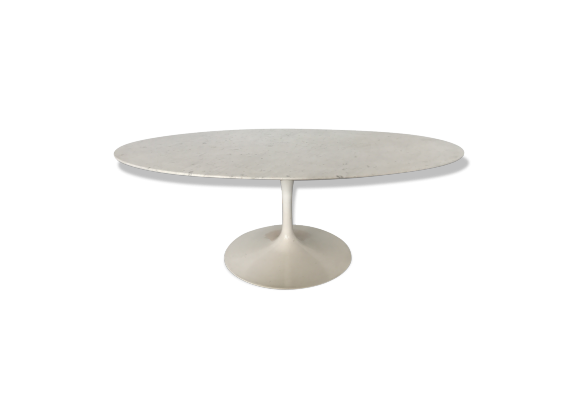 Table basse eero saarinen ed knoll tulipe design 1970 marbre carrare marbre blanc bon tat Table basse saarinen