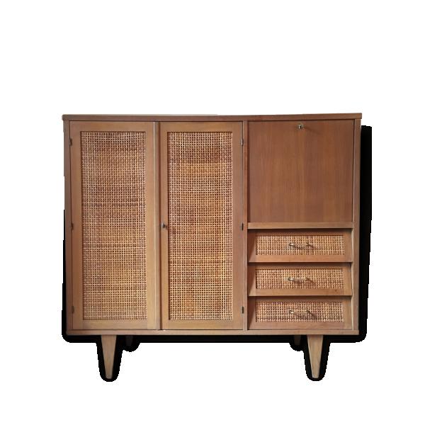 joli meuble vintage penderie secr taire et tiroirs ch ne dor et rotin tress ann es 60. Black Bedroom Furniture Sets. Home Design Ideas