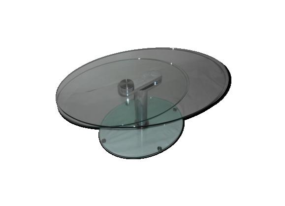 Table basse en verre 2 plateaux pivotants