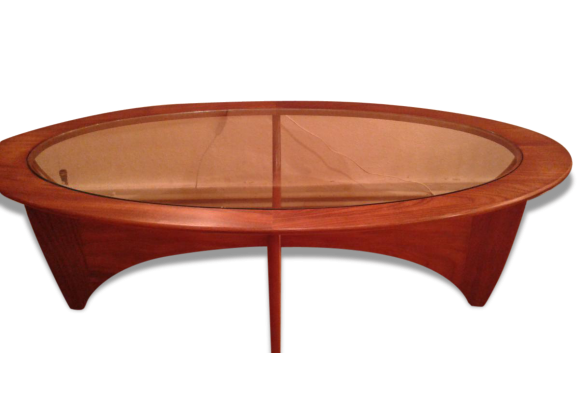 Table basse de salon dite 39 39 astro 39 39 ovale en teck dessus ve - Dessus de table en verre ...