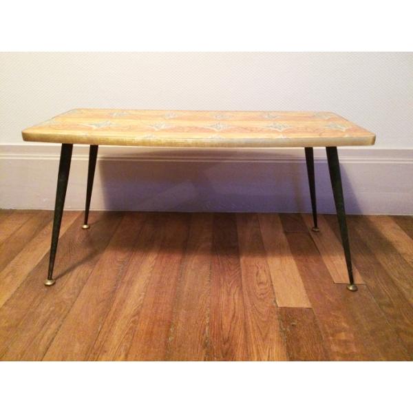 table basse formica ann es 60 m tal orange dans son jus vintage. Black Bedroom Furniture Sets. Home Design Ideas