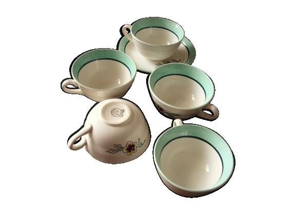 Lot de 5 tasses Céranord Saint Amand Collection Eglantine vert Fleur épanouie