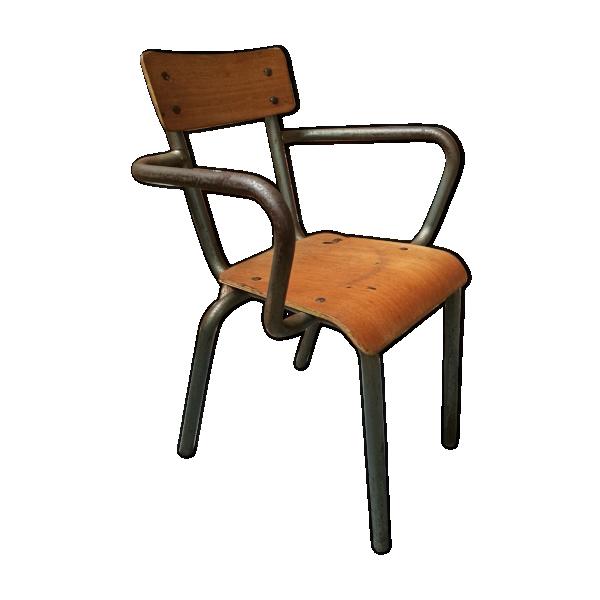 Ancienne chaise d cole mullca avec accoudoirs m tal gris bon tat industriel - Chaise ancienne avec accoudoir ...