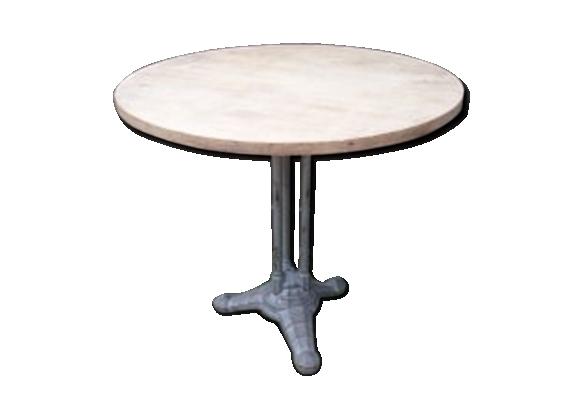 Table de bistrot 1930 métal et bois chêne bar art déco classique