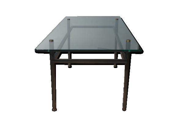 Table basse rectangulaire des années 50 en verre et pieds ronds noirs
