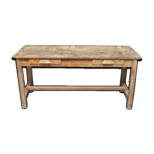 ancien bureau enfant d 39 colier avec encriers bois mat riau bois couleur dans son jus. Black Bedroom Furniture Sets. Home Design Ideas