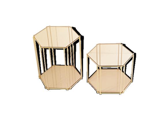 Paire de tables d 39 appoint hexagonales en verre fum acier dor 1970 vintage verre et cristal - Table d appoint dore ...