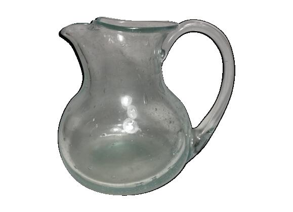 Pichet verre bullé soufflé main carafe vintage