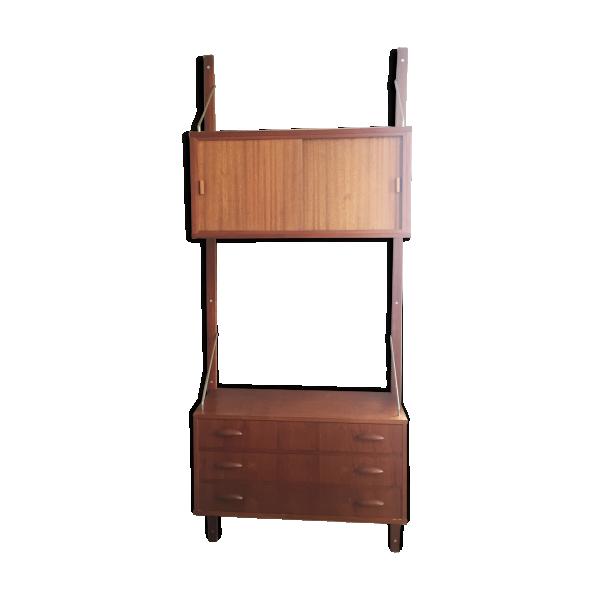 tag re biblioth que murale scandinave ann es 60 teck bois couleur bon tat. Black Bedroom Furniture Sets. Home Design Ideas