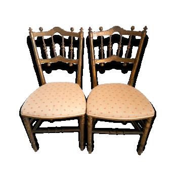 Paire de chaises Chiavari dorées en crin XIXeme