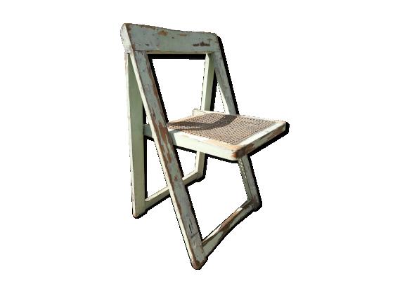 chaise cann e pliante verte patin e bois mat riau vert bon tat classique. Black Bedroom Furniture Sets. Home Design Ideas