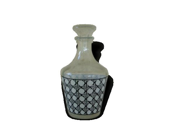 Carafe a liqueur, motifs cannage géometriques vintage 1960