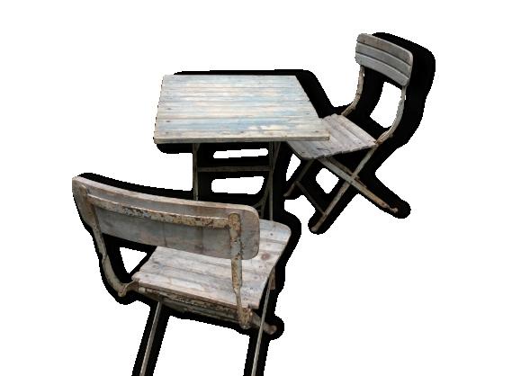 Chaises et table pliantes de jardin d'époque 19 eme