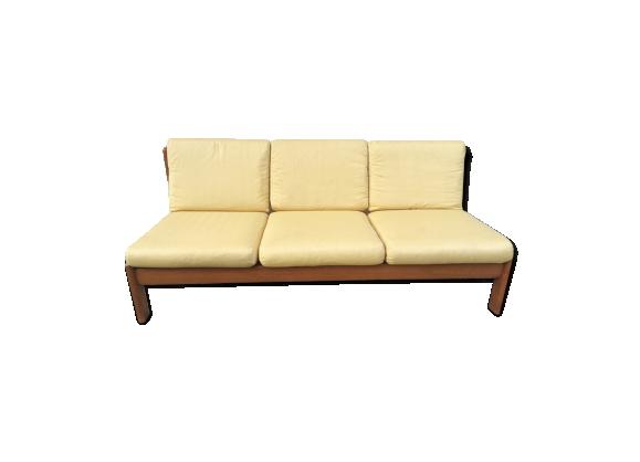 banquette scandinave teck blond 3 places 1960 bois mat riau jaune bon tat. Black Bedroom Furniture Sets. Home Design Ideas