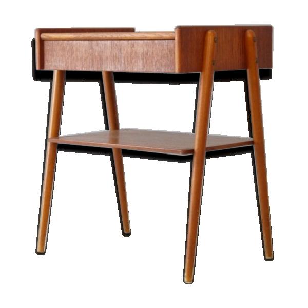 chevet vintage pied compas teck bois couleur bon tat scandinave. Black Bedroom Furniture Sets. Home Design Ideas