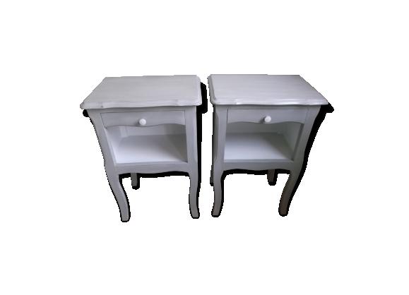 Tables de chevet anciennes vintage shabby patin es bois mat riau gris - Table de chevet ancienne ...