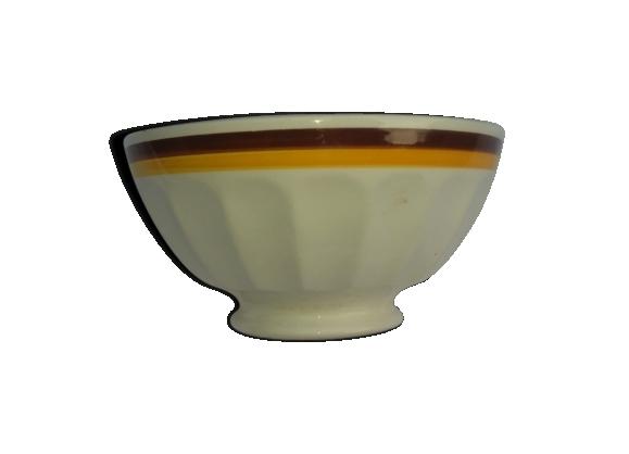 Bol en faïence décoré de liserets marron et jaune