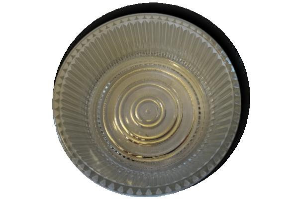 Saladier vintage en verre moulé nervuré